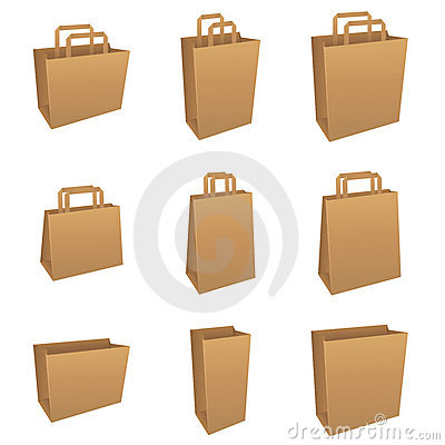 Set of brown bags