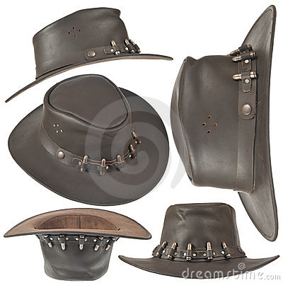 Set of brown cowboy hat