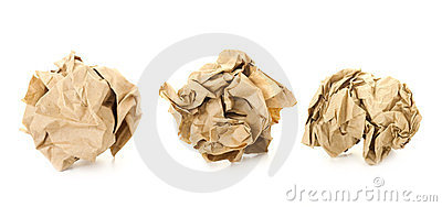 Set of  Brown Crumpled Paper Balls /