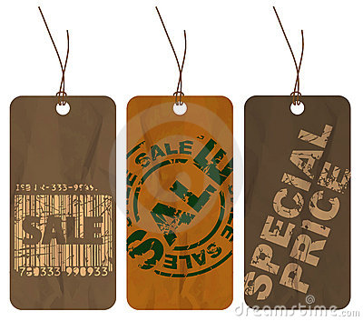 Set of brown crumpled paper tags