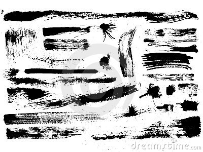 Set of brush strokes, stains, splashes, vector