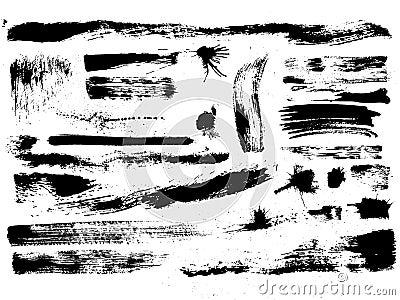 Set of brush strokes, stains, splashes, vector