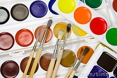 Set of brushes on a background
