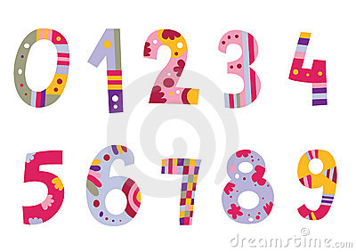 Set bunte Zahlen