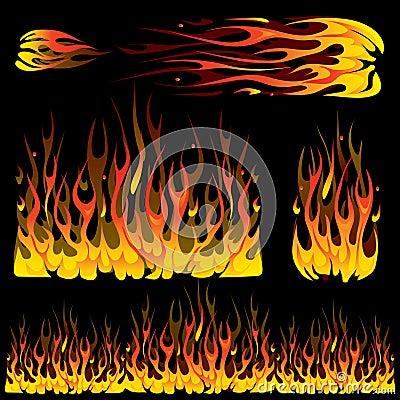Set of burning fire elements