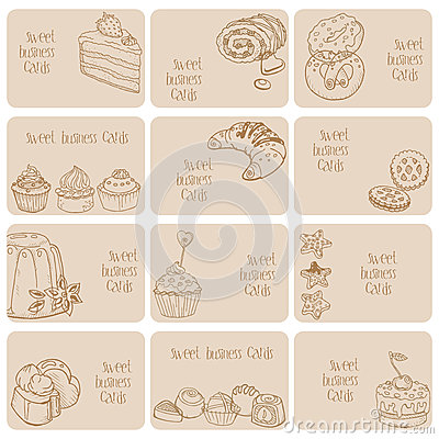 Set of Business Cards - Cakes, Sweets and Desserts