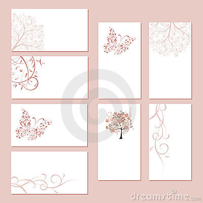Set of business cards, floral ornament