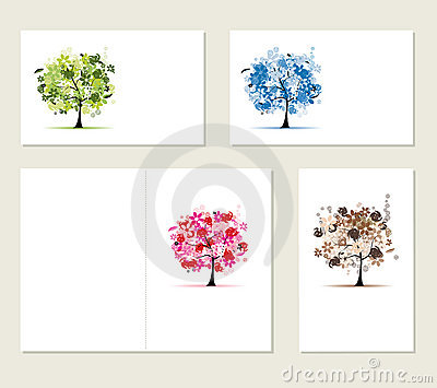 Set of business cards, floral trees