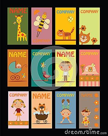 Set of business cards for kindergarten