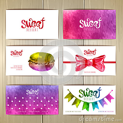 Set of business cards with sweets or desserts. Vector Illustration