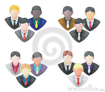 Set of businessman icon in group