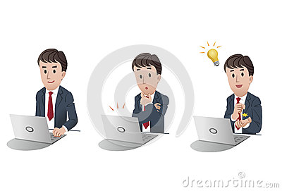 Set of businessman at laptop computer 2