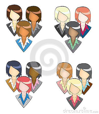 Set of businesswoman icon in group (in pencil line