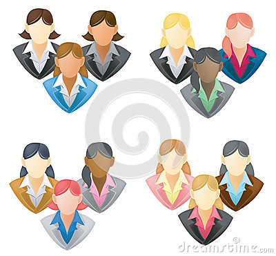 Set of businesswoman icon in network group FULL VE