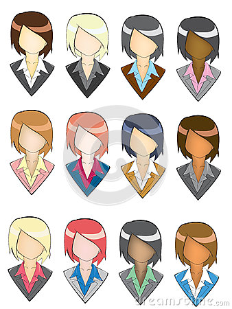 Set of businesswoman icon in pencil line style