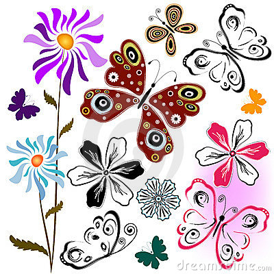 Set butterflies and flowers