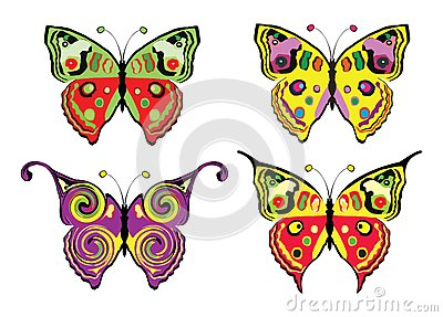 Set of butterflys