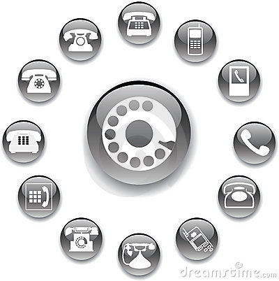 Free Set Buttons 32A. Phones Royalty Free Stock Images - 6452719