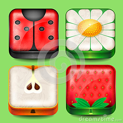 Set of buttons and icons
