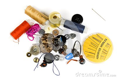 Set of buttons, needles, strings
