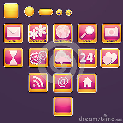 Set of buttons with social icons