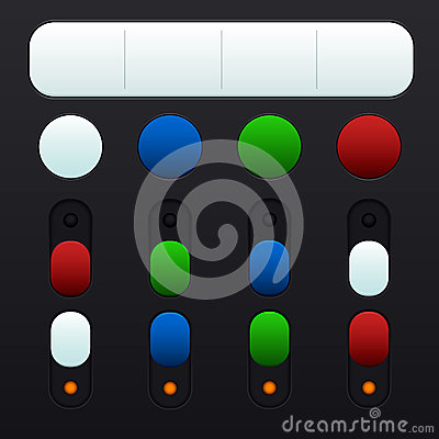 Set of buttons and switches in different colors