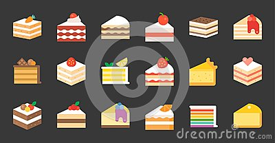 Set of cake, flat icon Vector Illustration