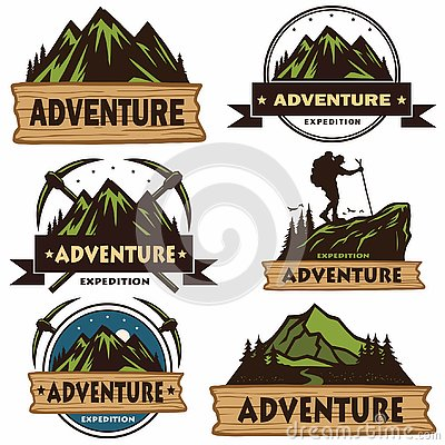 Set of Camping Logos, Templates, Vector Design Elements, Outdoor Adventure Mountains and Forest Expeditions. Vintage Emblems and B Vector Illustration