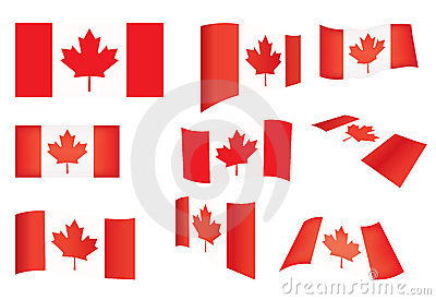 Set of Canada flags