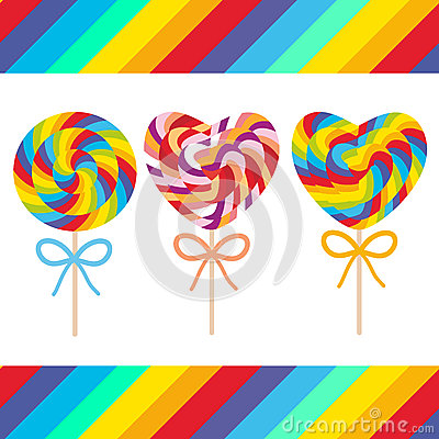 Free Set Candy Lollipops With Bow, Colorful Spiral Candy Cane. Candy On Stick With Twisted Design On White Background With Bright Rainb Stock Photos - 79964313