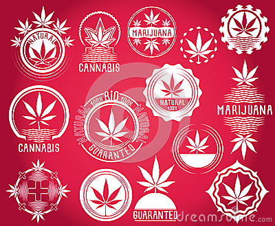 Set of cannabis and marijuana product symbol stamps