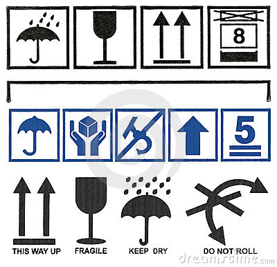 Set Cardboard  box symbols