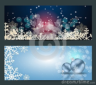 Set of cards with Christmas BALLS, stars and