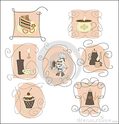 Set cards,labels for cafes, restaurants