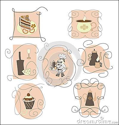 Set cards,labels for cafes, restaurants