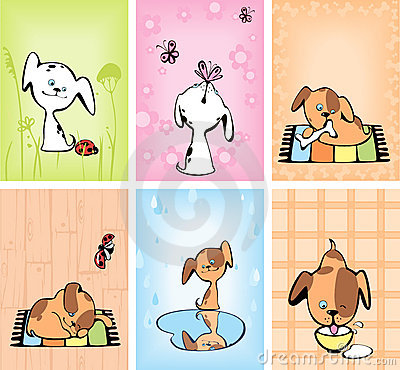 Set of cards with puppies.