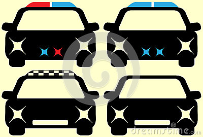 Set cars - police, security, taxi and auto