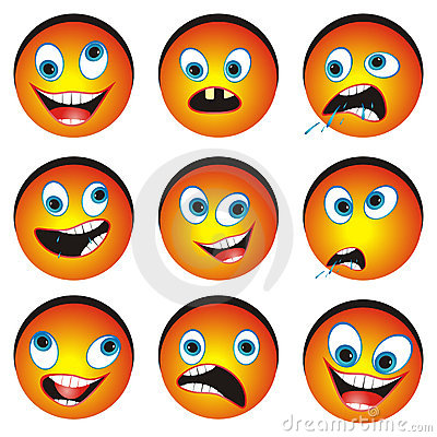 Set of cartonized smiley faces