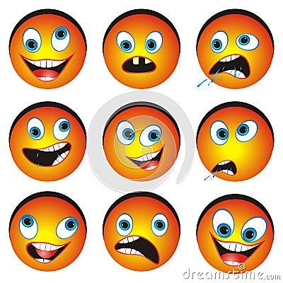 Set of cartonized smiley faces