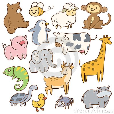Set of cartoon animals Stock Photo