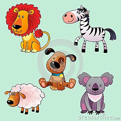 Set of cartoon animals.