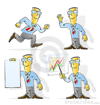 Set of cartoon businessman