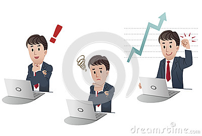 Set of cartoon businessman in 3 different poses