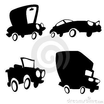 Set of cartoon cars in silhouette