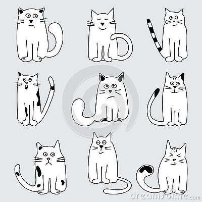 Set cartoon cats wits different emotions, hand drawn. Vector illustration Cartoon Illustration