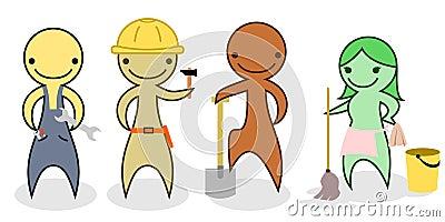Set of cartoon manual workers