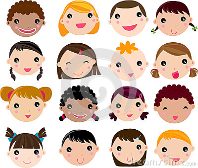 Set of cartoon children face