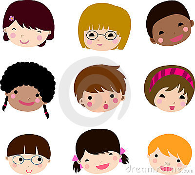 Set of cartoon children face vector