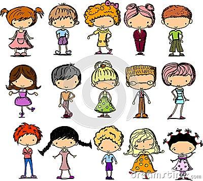 Set cartoon children,vector