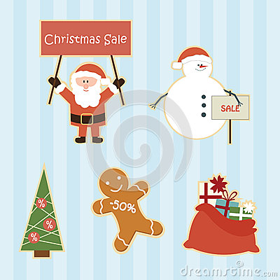 Set of cartoon christmas sale elements
